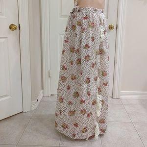 Vintage 1970s Floral Wrap Skirt Swim Cover Up xs